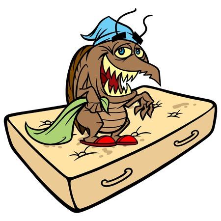 Bed Bug on a Mattress Illustration