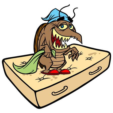 Bed Bug op een matras Vector Illustratie