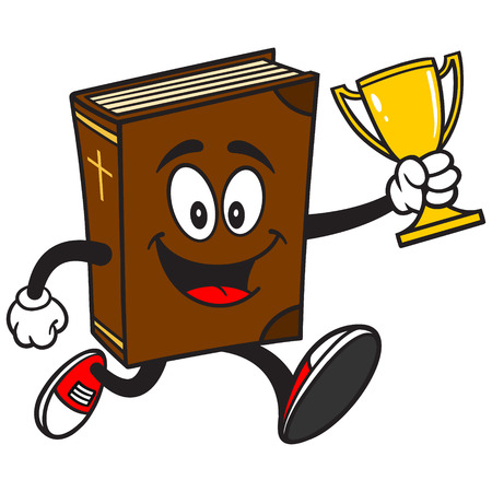 holy place: Bible School Mascot Running with Trophy