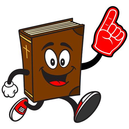 spectator: Bible School Mascot Running with Foam Finger