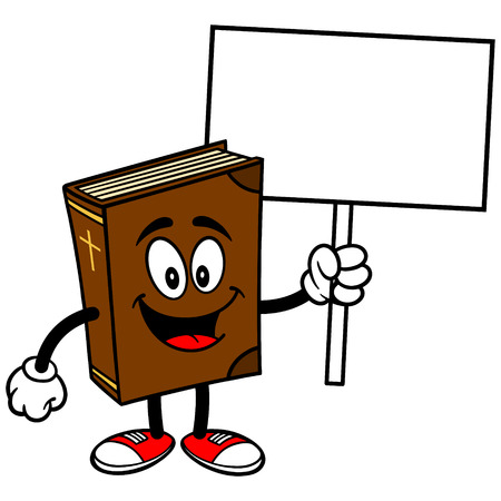 Bible School Mascot with Sign Illustration
