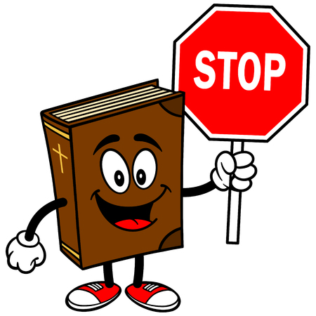 Bible School Mascot with Stop Sign Illustration