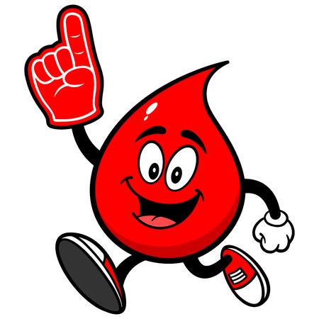 Daling van het Bloed Het lopen met Foam Finger Stock Illustratie