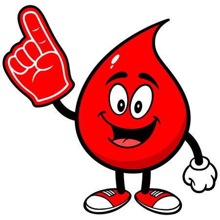 폼 핑거가있는 혈액 드롭 일러스트
