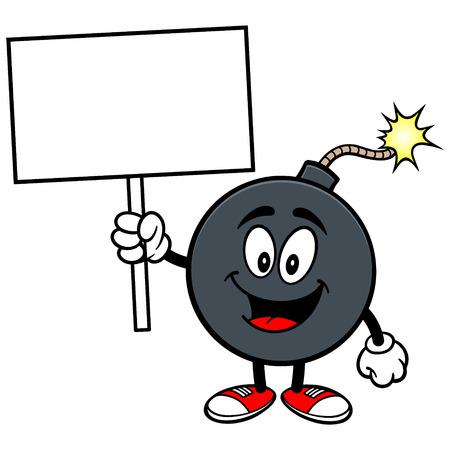 blank bomb: Bomb Mascot with Sign Illustration