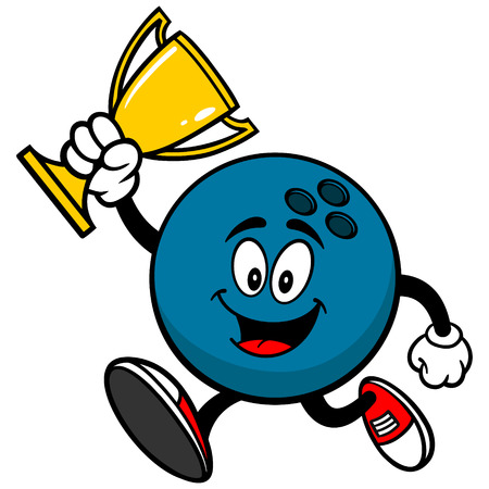 Bowling Ball Running with Trophy Illustration