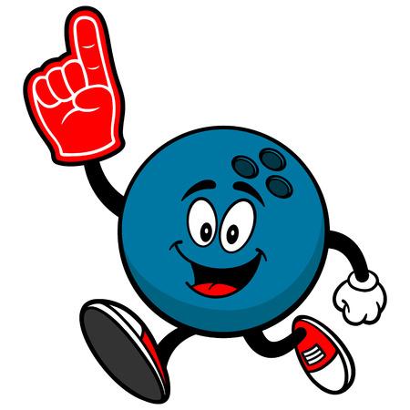 foam finger: Bowling Ball Running with Foam Finger