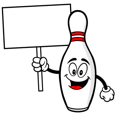 Bowling Pin with Sign Illustration