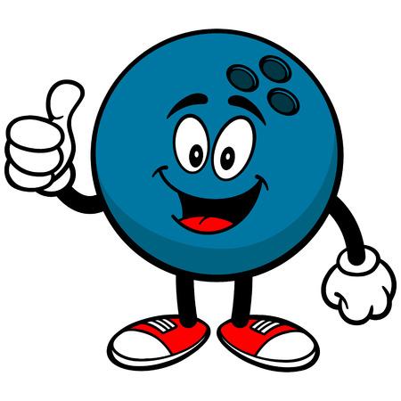 Bowling a sfera con Thumbs Up Archivio Fotografico - 57278847