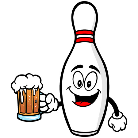 Bowling Pin with Beer Illustration