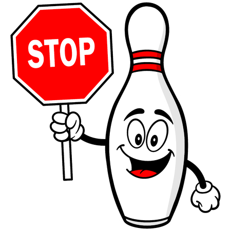 Bowling Pin with Stop Sign