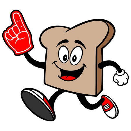 Bread Slice Running with a Foam Finger