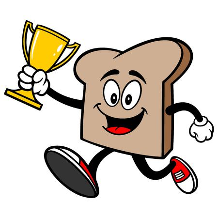 Bread Slice Running with a Trophy