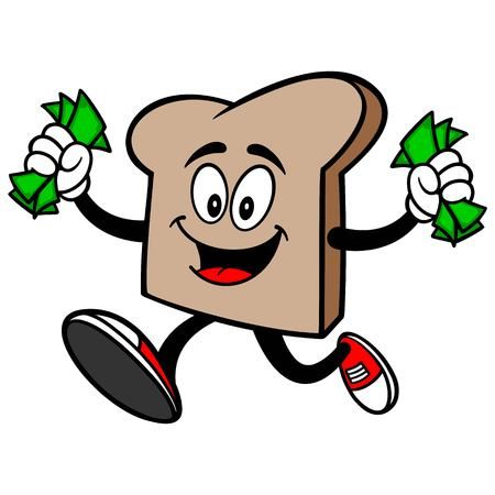 winning money: Bread Slice Running with Money