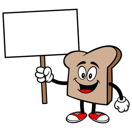 Bread Slice with a Sign Çizim