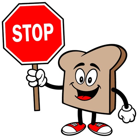 Bread Slice with a Stop Sign