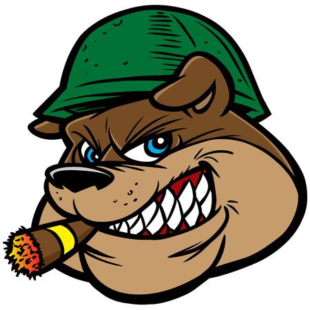Bulldog Army Mascot Çizim