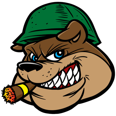 Bulldog Army Mascot Stock Illustratie