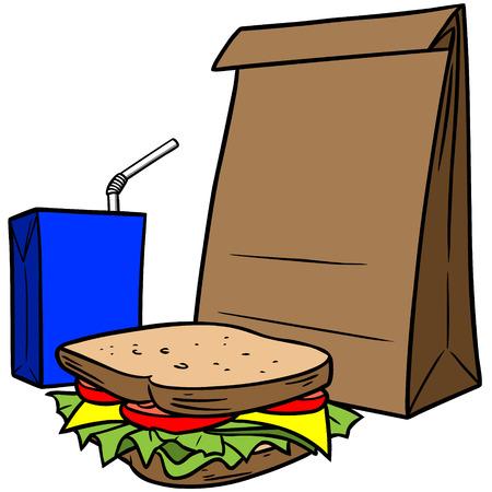 Brown Bag Lunch Illustration