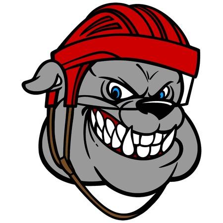 displeased: Bulldog with Hockey Helmet Illustration