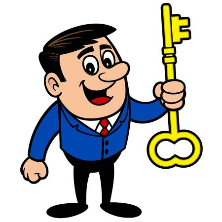 Businessman with a Key Çizim