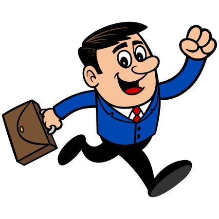 running: Businessman Running Illustration