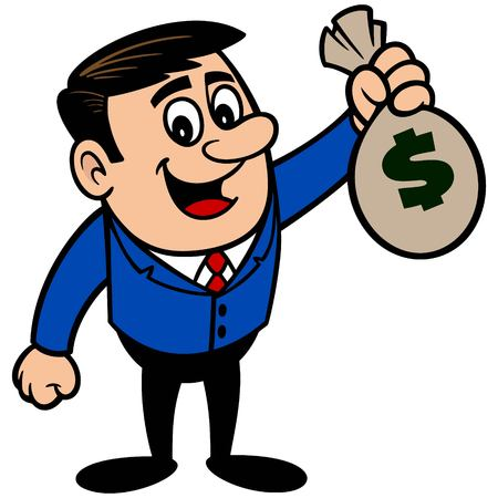 tax attorney: Businessman with a bag of Money Illustration