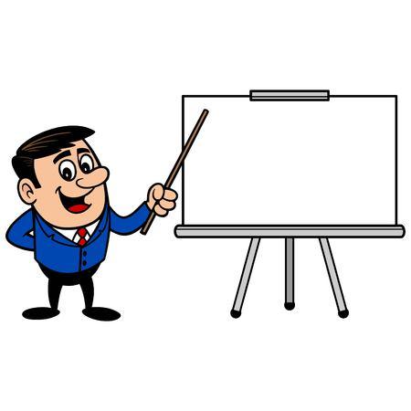 presentation screen: Businessman with Presentation Screen