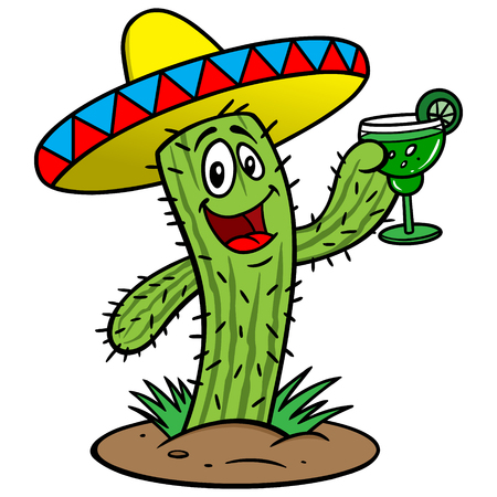 Kaktus mit Margarita Standard-Bild - 57291363
