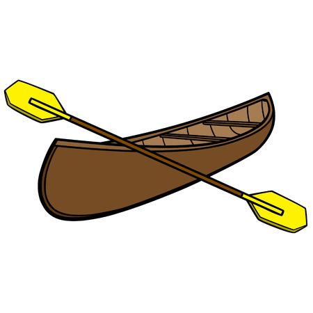 Canoe and Paddles Illustration