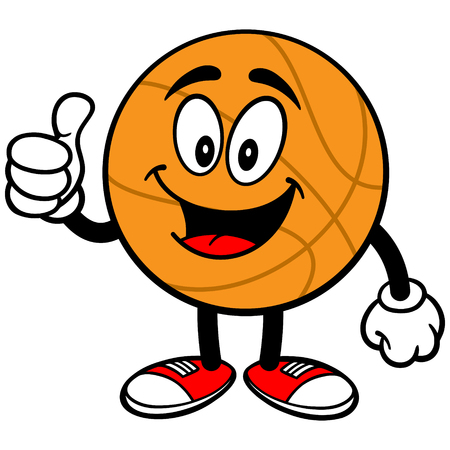 supportive: Cartoon Basketball Thumbs Up Illustration