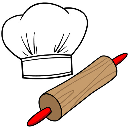 Chef Hat & Rolling Pin Illustration