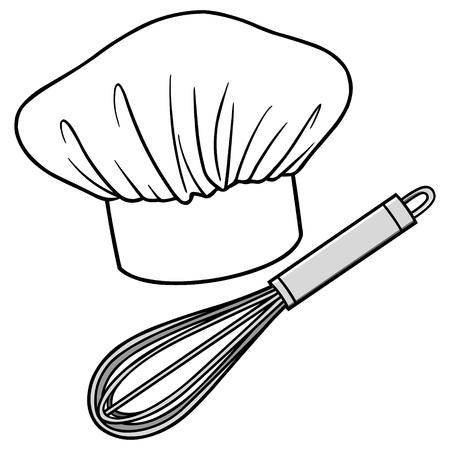 whisk: Chef Hat and Whisk Illustration