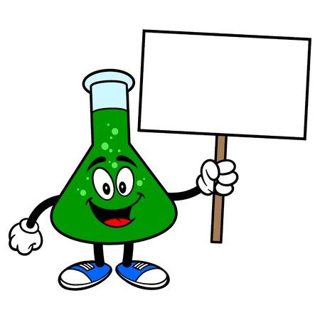 Chemie Kolf met een Teken Stock Illustratie