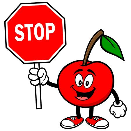 candid: Cherry with Stop Sign Illustration