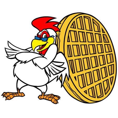 Huhn und Waffel-Maskottchen
