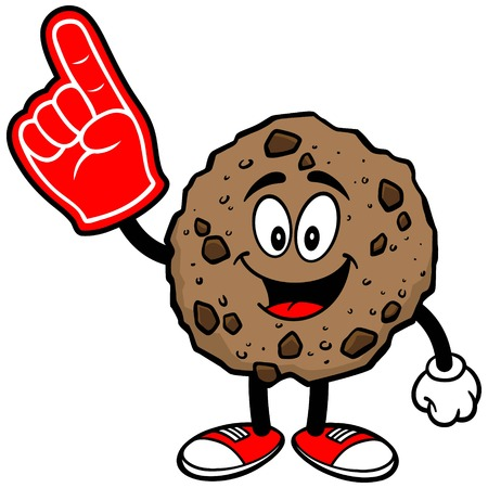 chocolate chip: Chocolate Chip Cookie with a Foam Finger Illustration