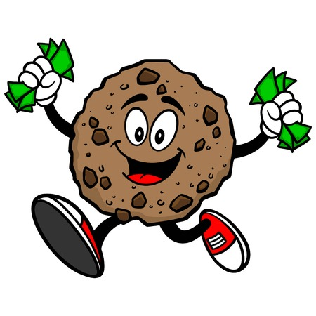 chocolate chip: Chocolate Chip Cookie Running with Money