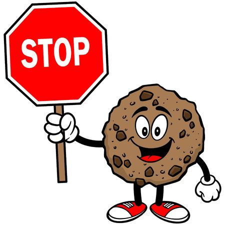 chocolate chip: Chocolate Chip Cookie with a Stop Sign