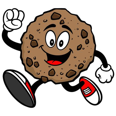 Chocolate Chip Cookie Running Illustration