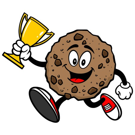 chocolate chip: Chocolate Chip Cookie Running with a Trophy Illustration