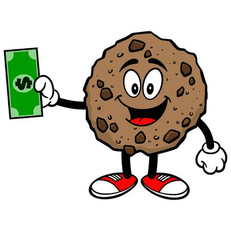 chocolate chip: Chocolate Chip Cookie with a Dollar Illustration