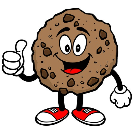 chocolate chip: Chocolate Chip Cookie with Thumbs Up Illustration