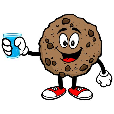 chocolate chip: Chocolate Chip Cookie with a Cup of Water