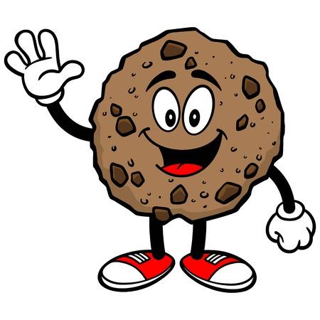 chocolate chip: Chocolate Chip Cookie Waving Illustration