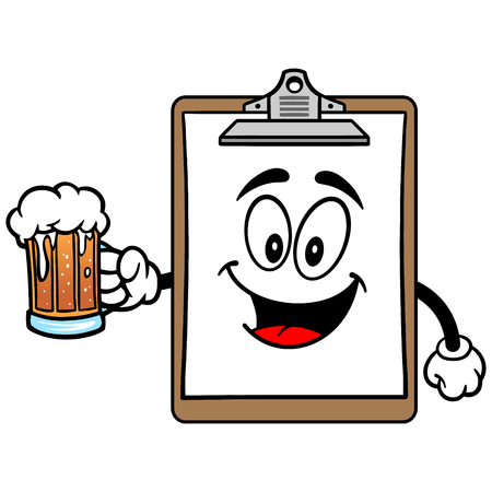 Clipboard Mascot with Beer