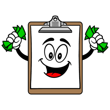 checklist: Clipboard Mascot with Money Illustration