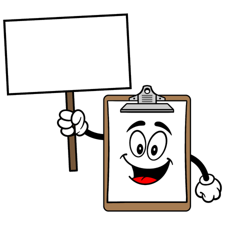 Clipboard Mascot with Sign Ilustracja