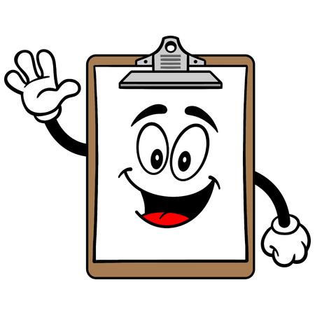 Clipboard Mascot Waving