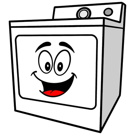 dryer: Clothes Dryer Mascot Illustration